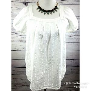 Loft babydoll square neck smock top white M